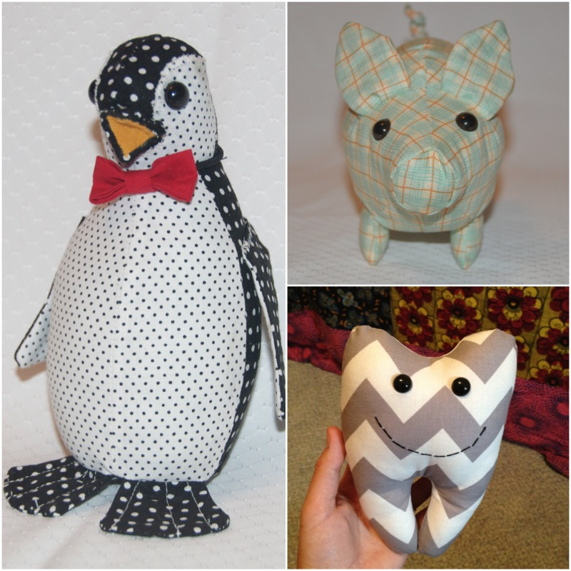 penguins, pig, tooth fairy pillow
