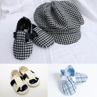 baby booties, newsboy hats