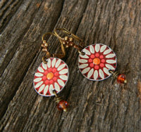 Linda-Hart-Maroon-Flower-vintage-tin-earrings