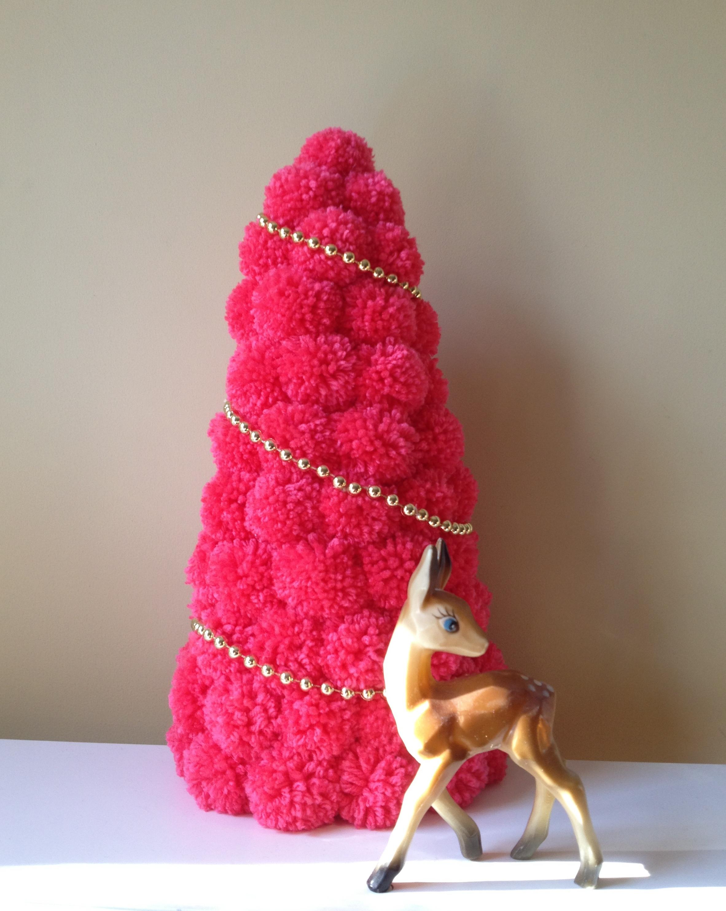 pink pom pom tree and deer