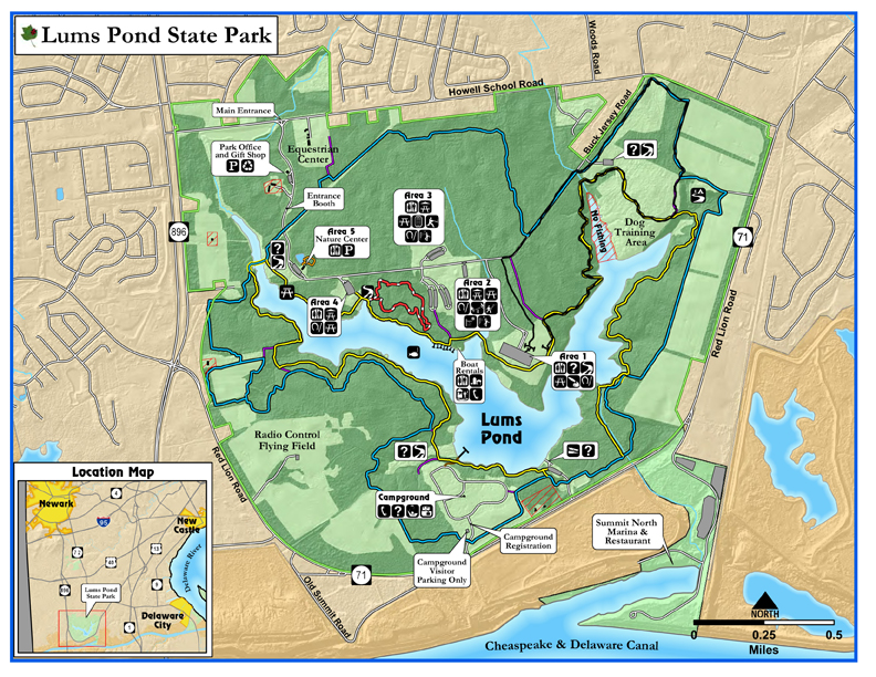 This map shows generally where the course is in relation to the pond and park entrance. We will be in Area 1 and there will be signs coming into the park directing you down there. The main entrance that runners/volunteers/walkers/adventure racers/etc. is off of 896 at 1042 Howell School Rd, Bear, DE 19701.