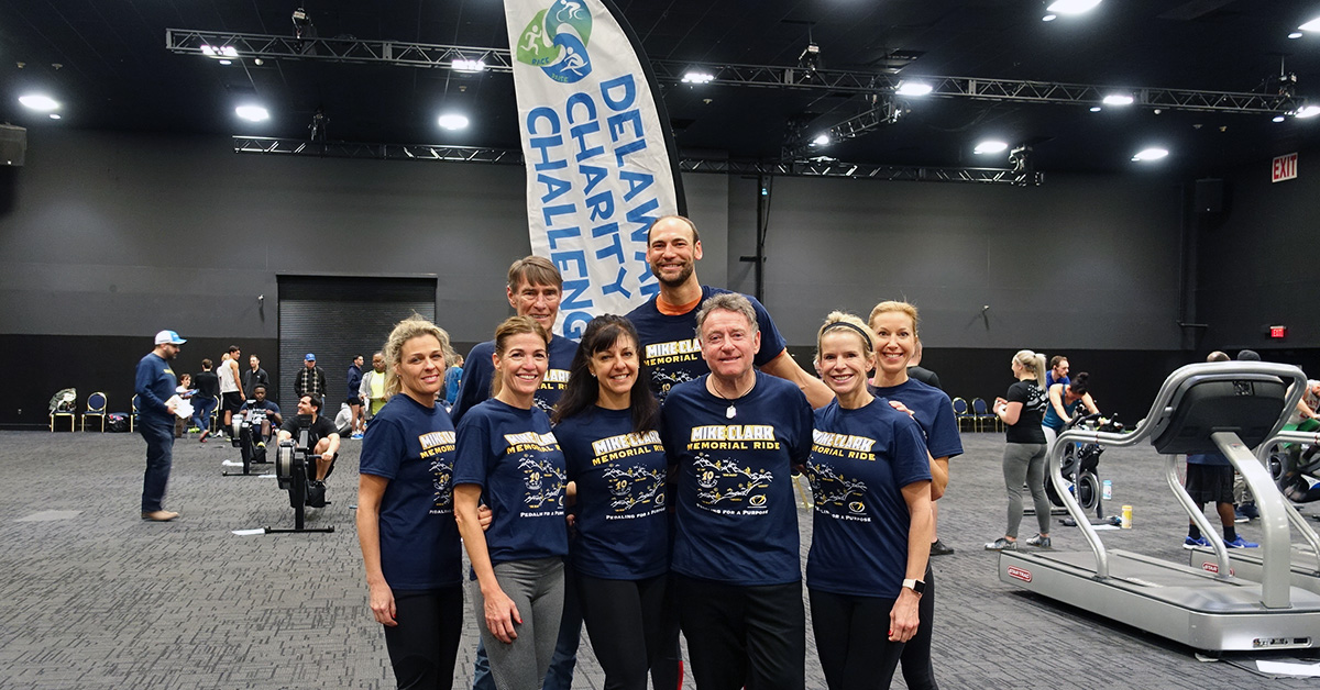 Team Clark's Sharks won a total of $200 for Mike Clark Legacy Foundation for having team members win the Medley Women's division and the Run, Row, Bike Individual Men's Division.
