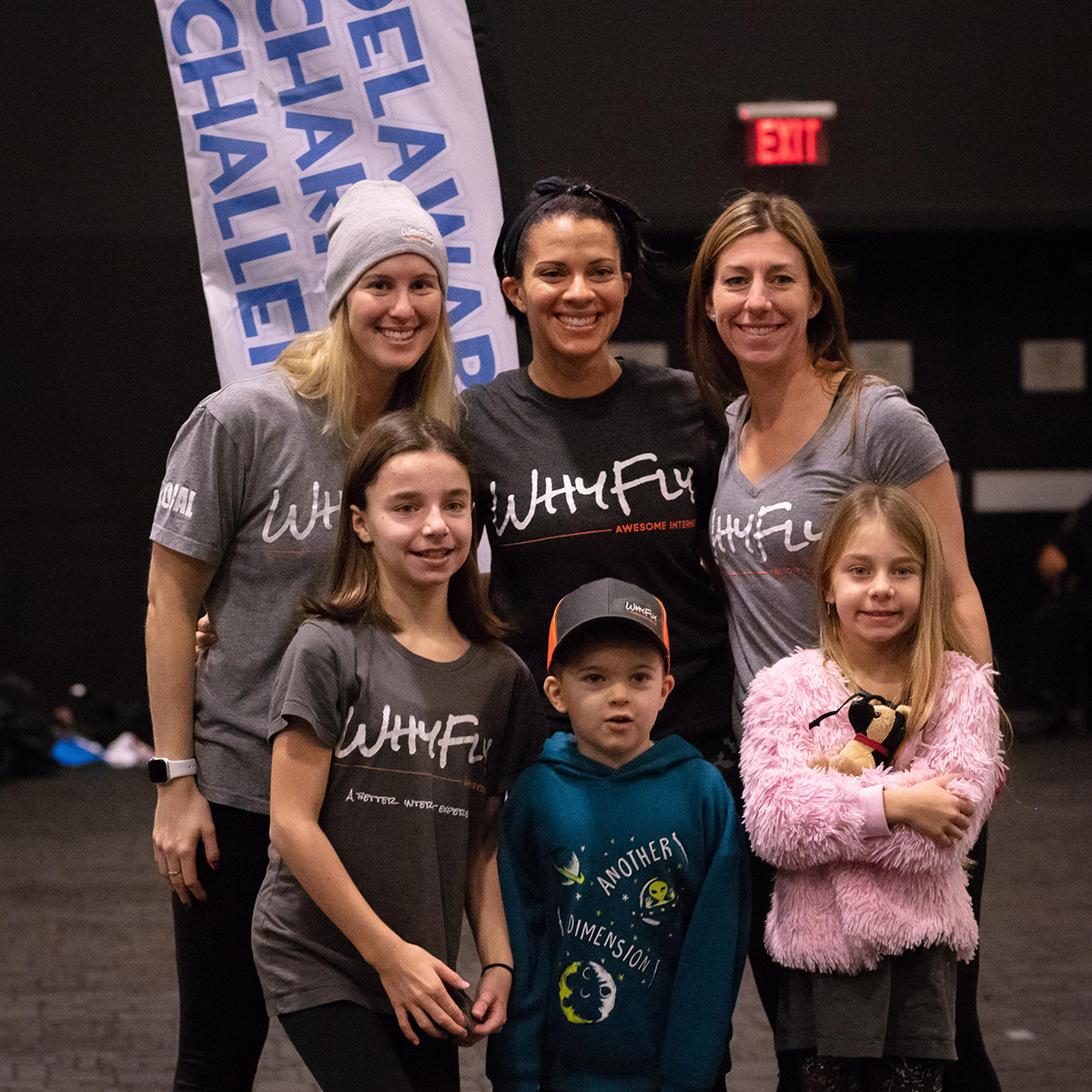 WhyFly Team Awesome smiles for the camera after competing in the Medley Team division of the 2019 Delaware Charity Challenge winter indoor triathlon. Photo credit  Four Youth Productions .