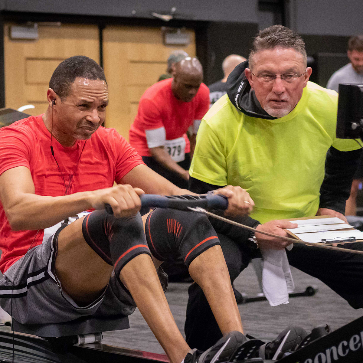 Kirkwood Fitness team captain Marcel Jackson competes in the rowing leg at the 2019 Delaware Charity Challenge winter indoor triathlon. Photo credit  Four Youth Productions .