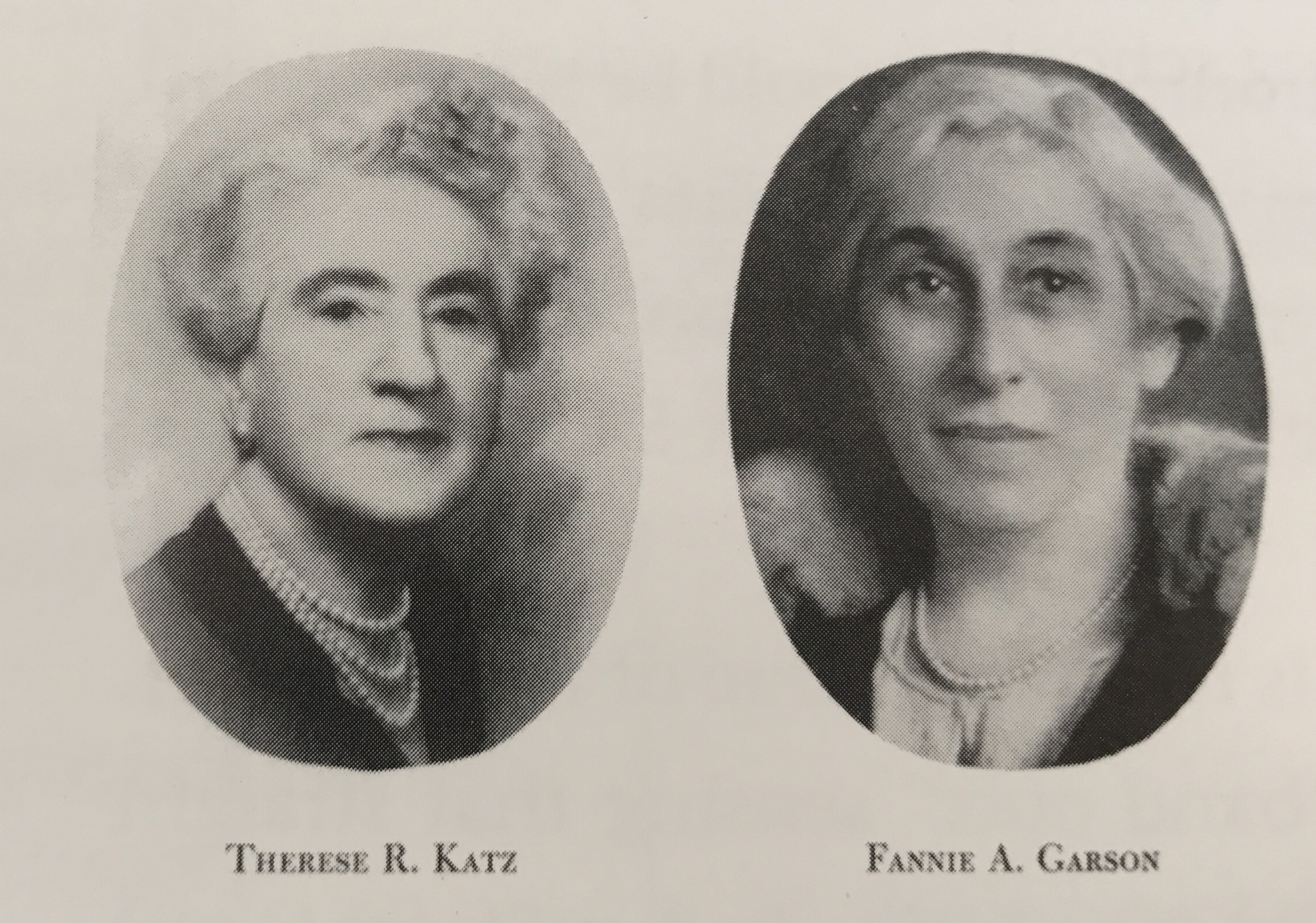 Baden Street Settlement's founders: Therese Katz and Fannie Garson