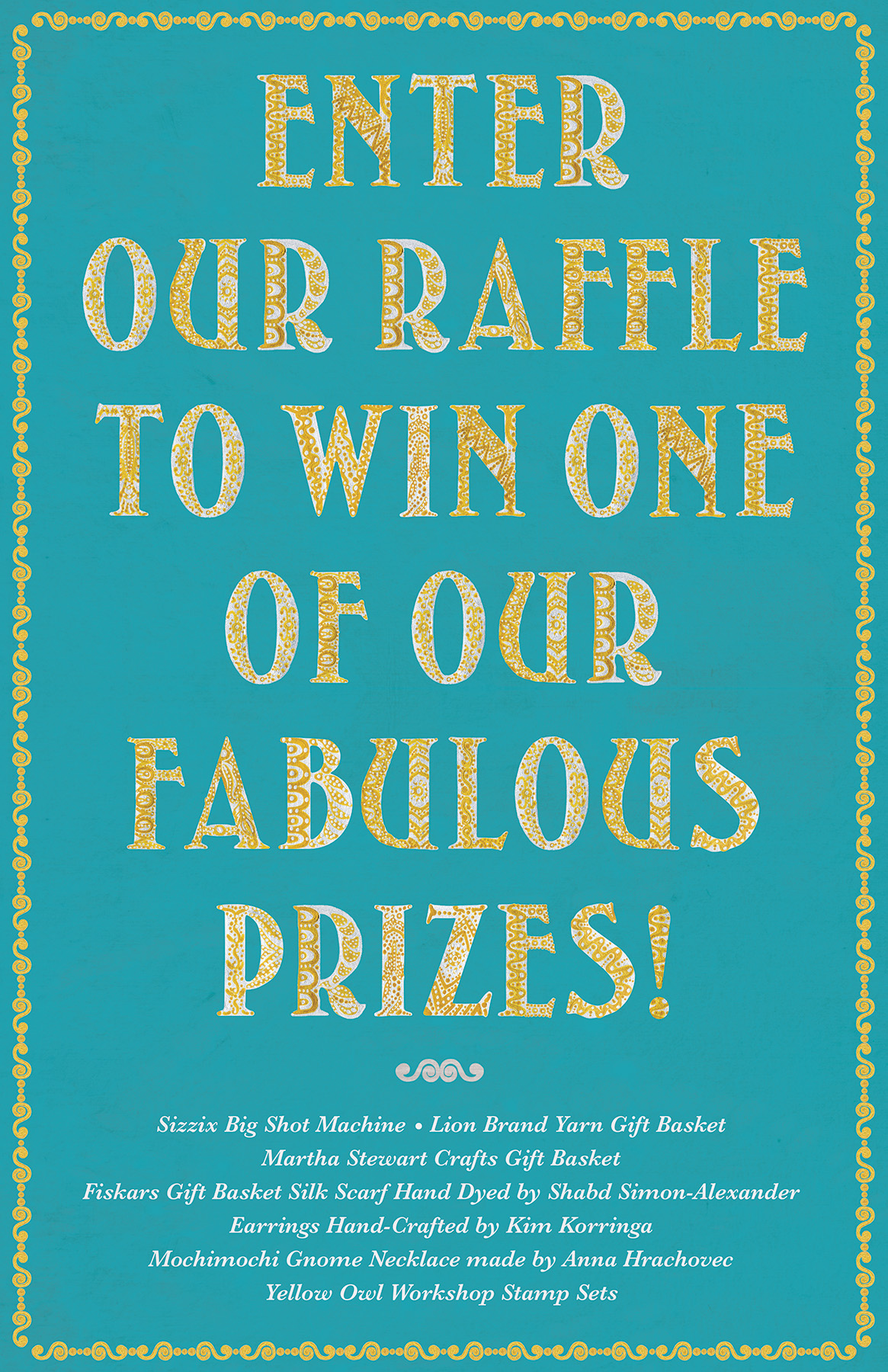 Crafternoon raffle sign for Random House