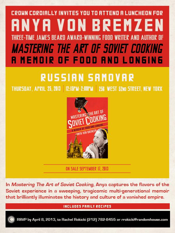 Mastering the Art of Soviet Cooking Evite for Random House