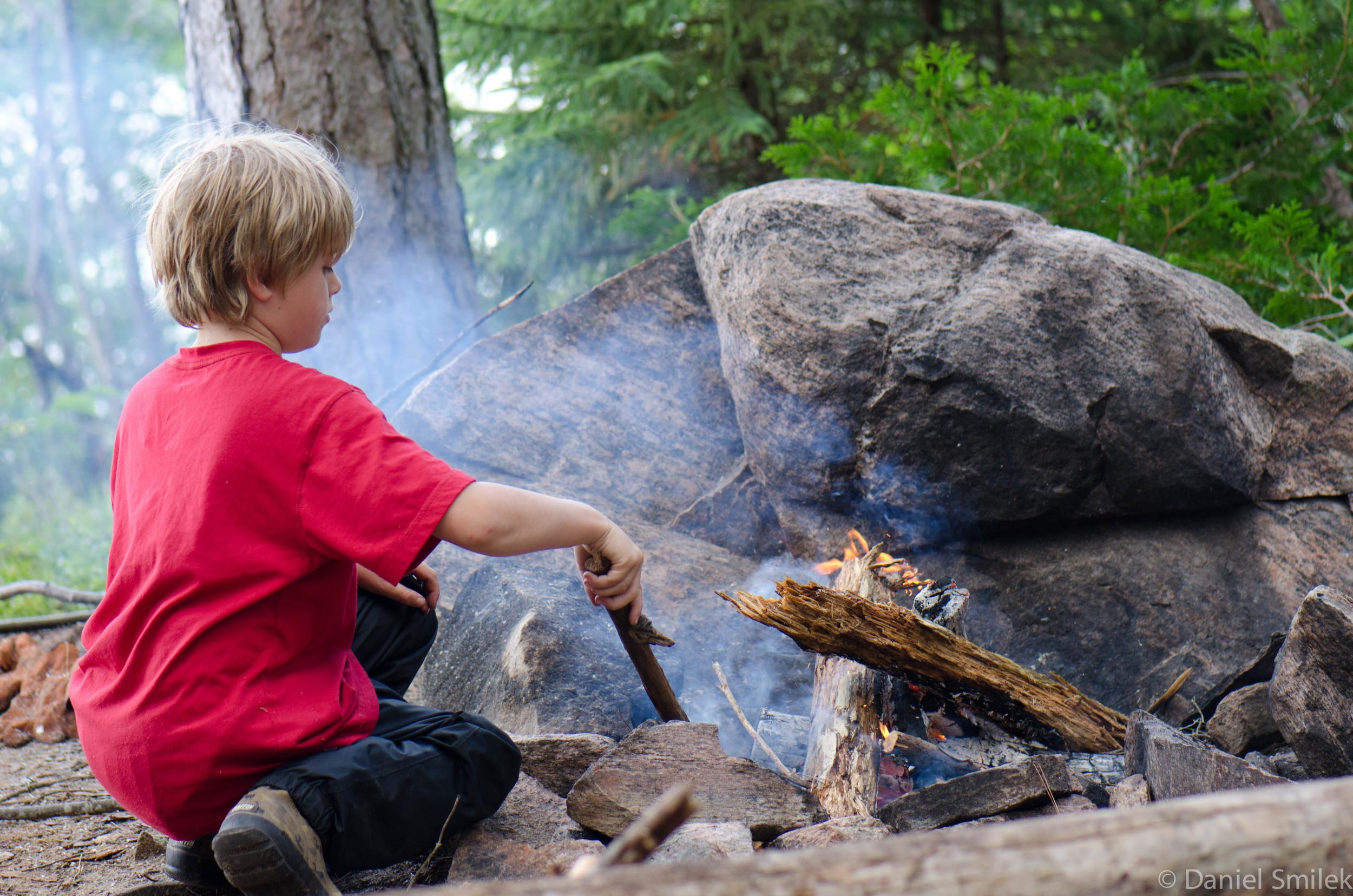 Josh practicing his fire making skills.