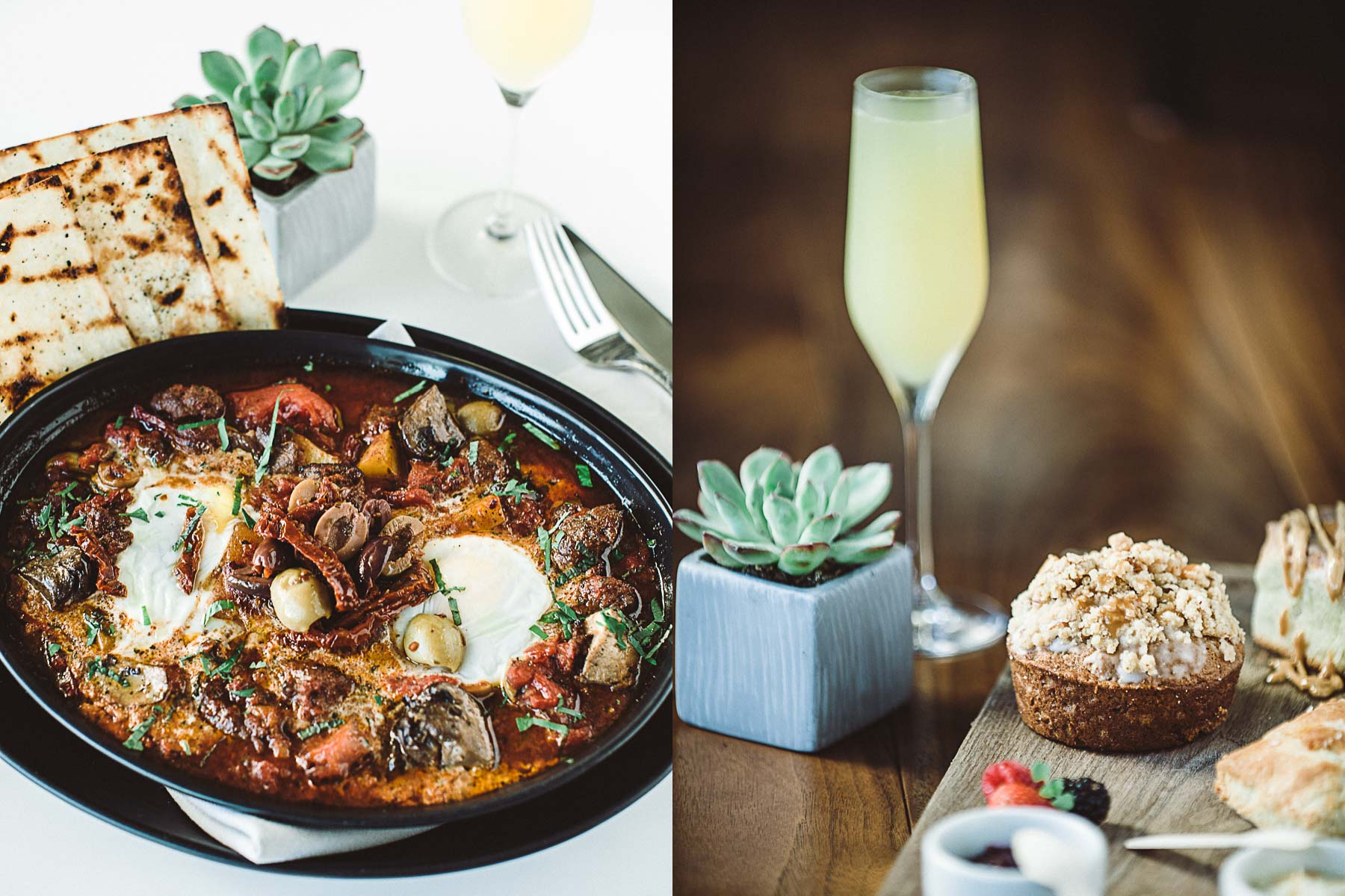Breakfast hash and mimosas with bread board in Jacksonville, Florida.