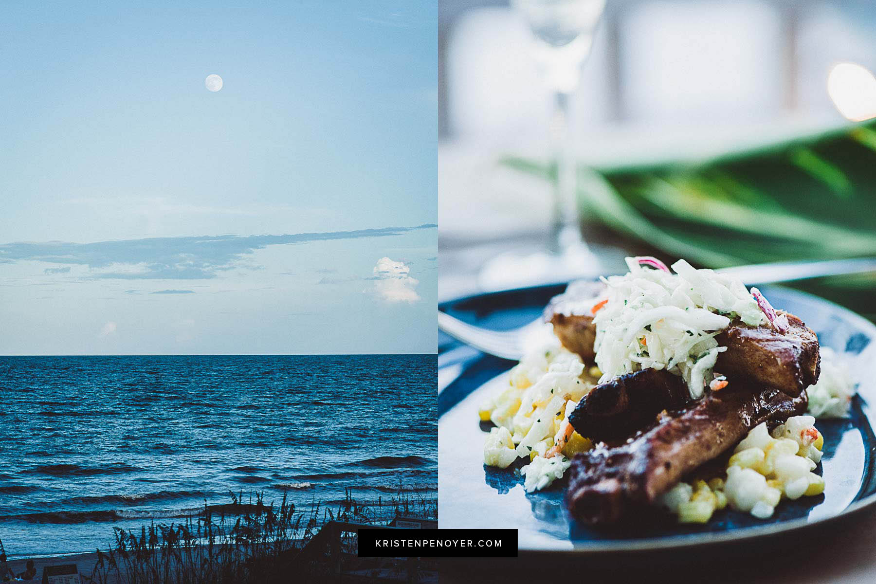 Atlantic ocean view and food at the Sawgrass Marriott's 619 Ocean View beachside restaurant and resort.