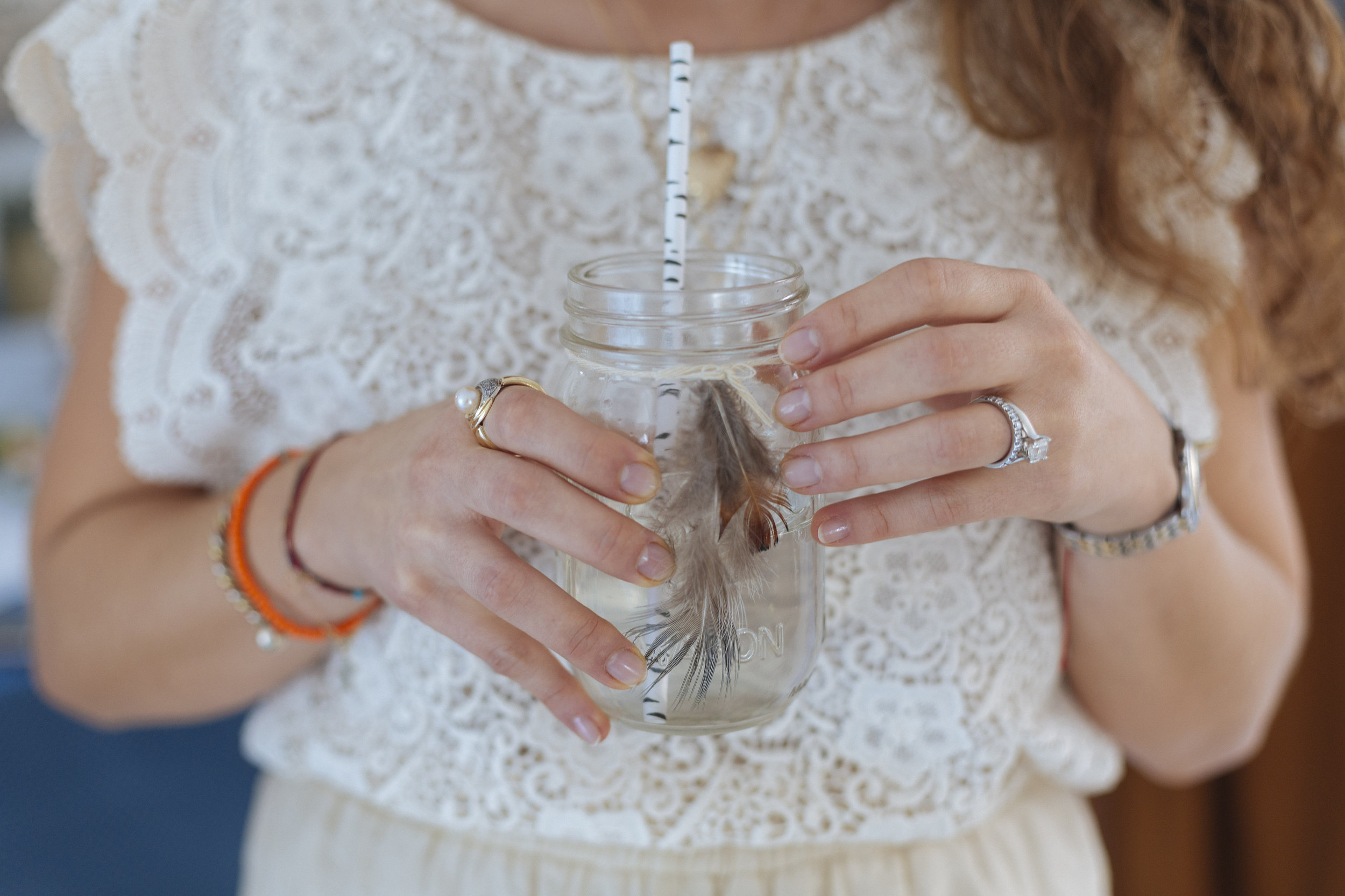 mason jars with real feathers