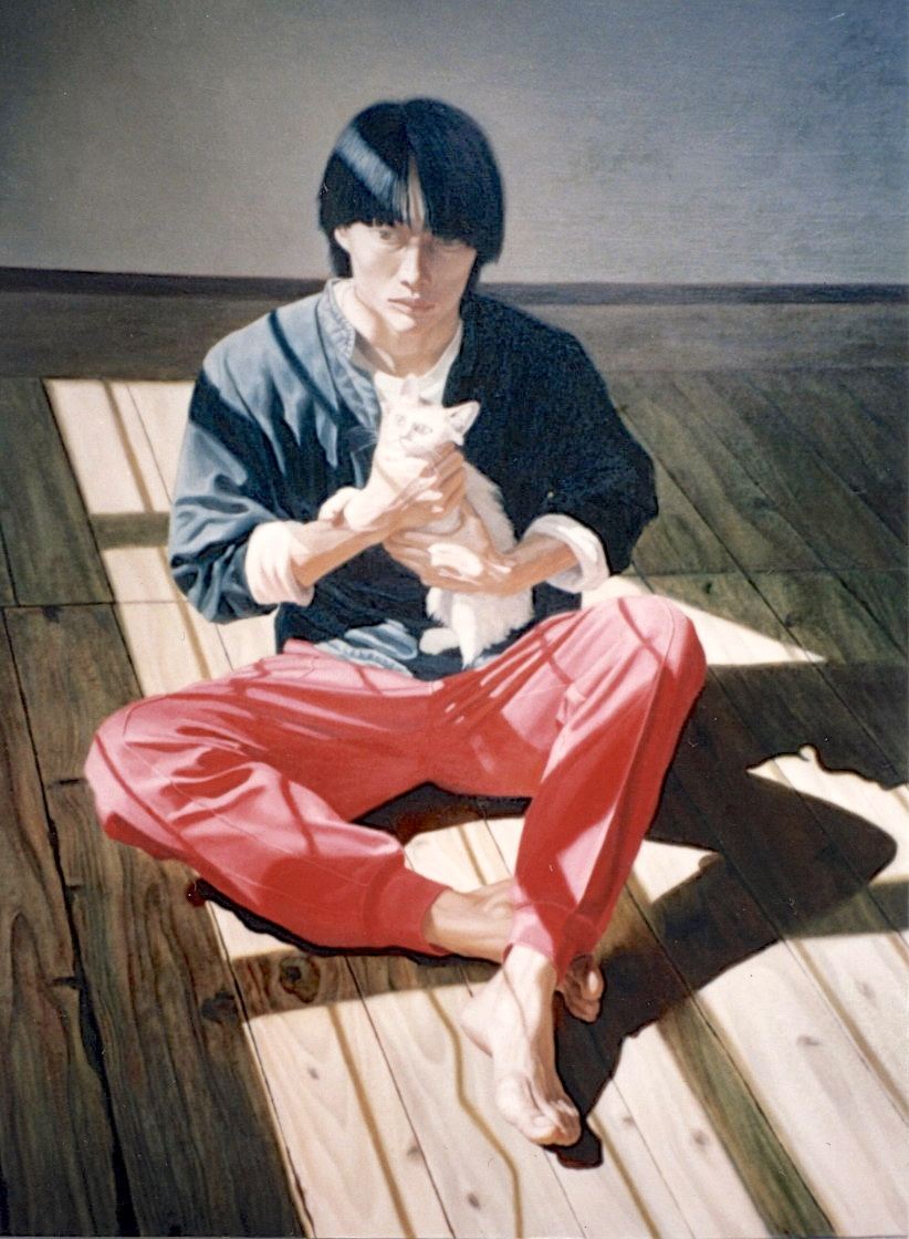 Shen Wei Sitting with Cat