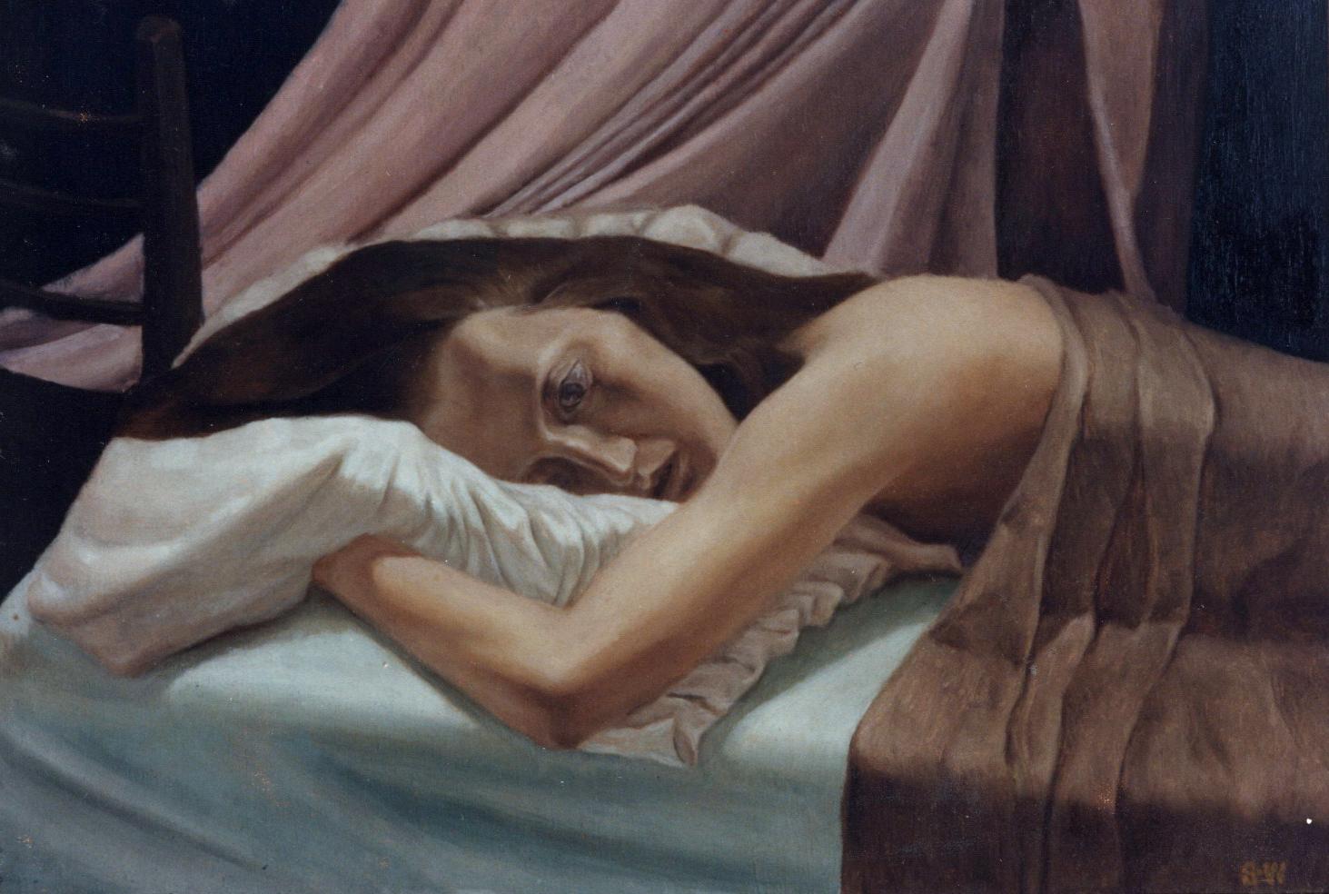 Girl Sleep with Eyes Open