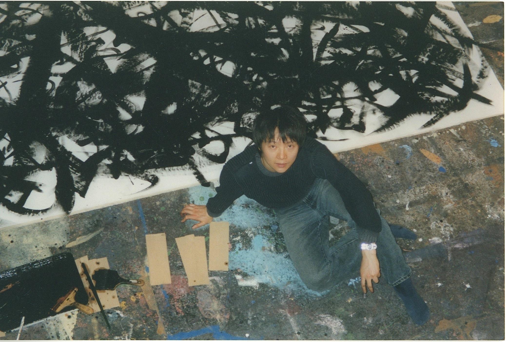 Shen Wei in painting studio