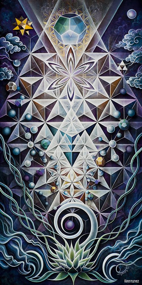 """""""Sacred Mirror"""" acrylic on canvas 24"""" x 48"""" 2010-11"""