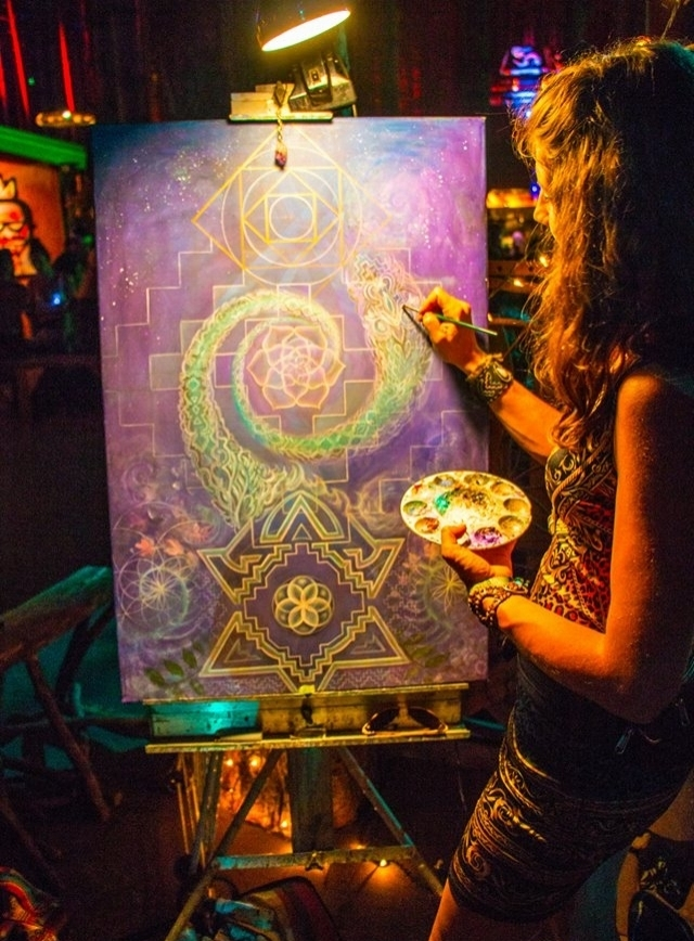 Live Painting by Krystleyez at Electric Forest Music & Arts Festival in Michigan, 2014 Photo thanks to PDaley Productions