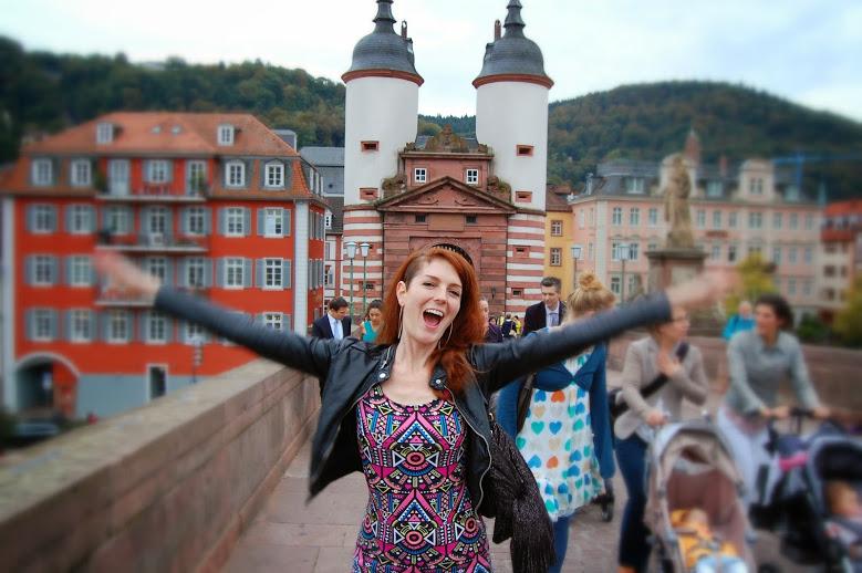 Feeling exuberant on the Old Bridge.
