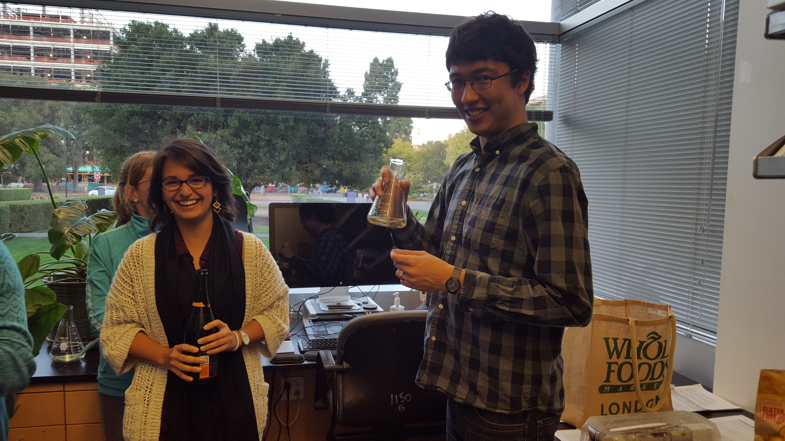 Eli becomes the very first Bhatt lab member to pass his quals! And inaugurates the drinking trophy!
