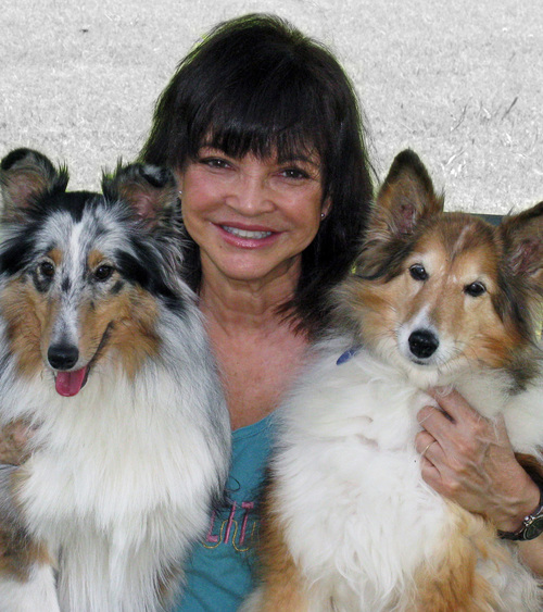 Kip with two of her dogs, E-Mail and SoundBite