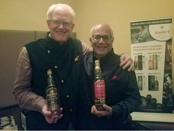 Business partners Raj Sabharwal and Bill Campbell, who launched Amrut in the US, in 2010, at the whisky dinner, at Junoon, in New York City, on October 1, 2018. Photo: Sujeet Rajan.