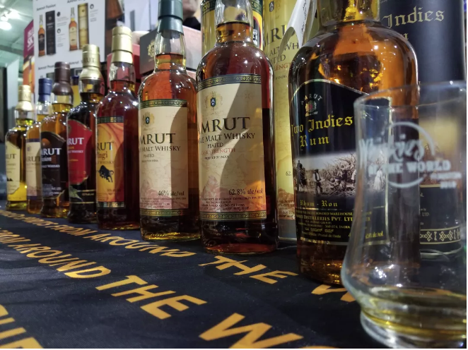 The Amrut line of spirits displayed at Whiskies of the World at Silver Street Studio. Photo: Lauro Rojas, Houstonia Magazine