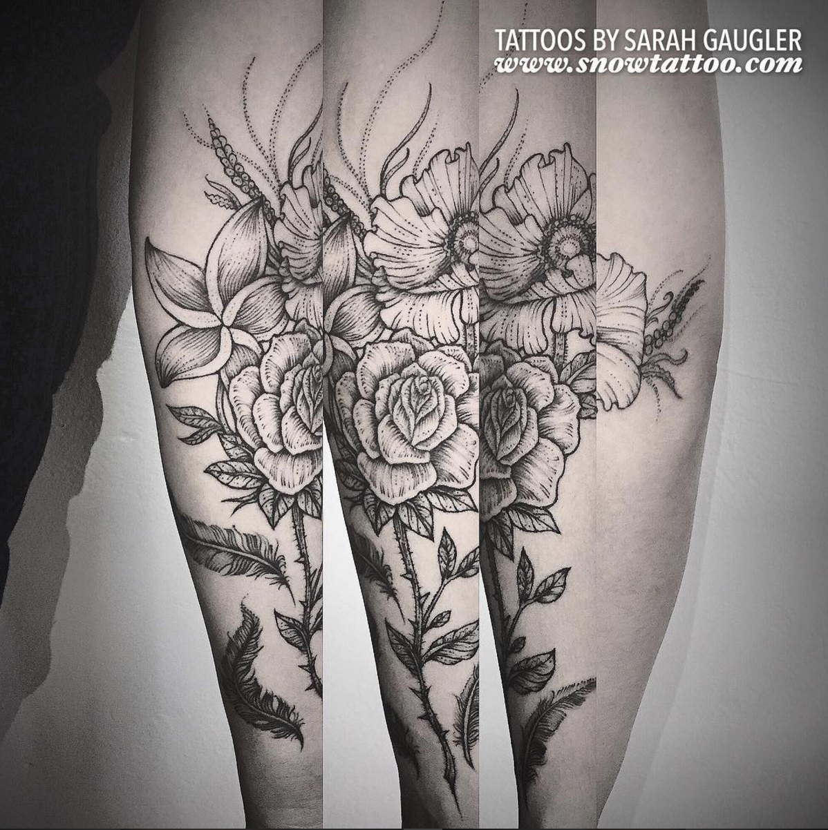 Cusotm+Sarahgaugler+FLORAL+Flower_Poppies_Rose_Boquet+Tattoo+Line+Art+Original+Flash+Tattoo+by+Sarah+Gaugler+at+Snow+Tattoo+New+York+NYC.jpg