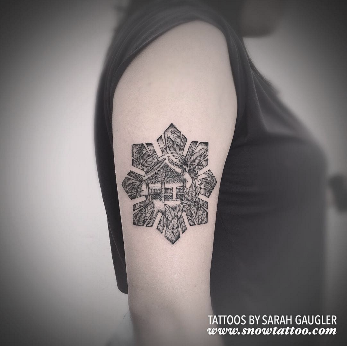 Sarah Gaugler Snow Tattoo Custom Filipino Philippine Nipa Hut Bahay Kubo Original Design Fine Line Finelinetattoo New York Best Tattoos Best Tattoo Artist NYC.png