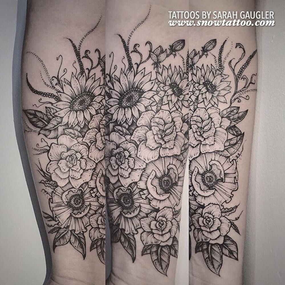 Cusotm+Floral_Garden_Flowers_Poppy_Poppies_Sunflower_Sunflowers+Tattoo+Line+Art+Original+Flash+Tattoo+by+Sarah+Gaugler+at+Snow+Tattoo+New+York+NYC.png