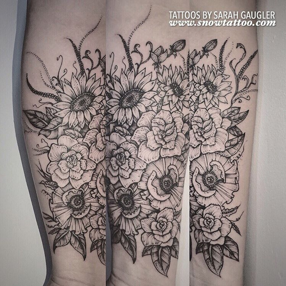 Cusotm+Floral_Garden_Flowers_Poppy_Poppies_Sunflower_Sunflowers+Tattoo+Line+Art+Original+Flash+Tattoo+by+Sarah+Gaugler+at+Snow+Tattoo+New+York+NYC.png