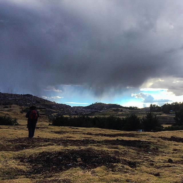 After a long day trekking the hills of Cusco we caught this micro storm #storm #clouds #cusco #cloudporn