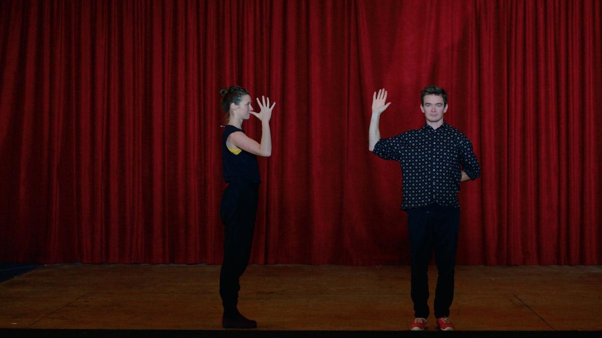ABOVE Choreographer Tessa Martin and Sean go through their paces.