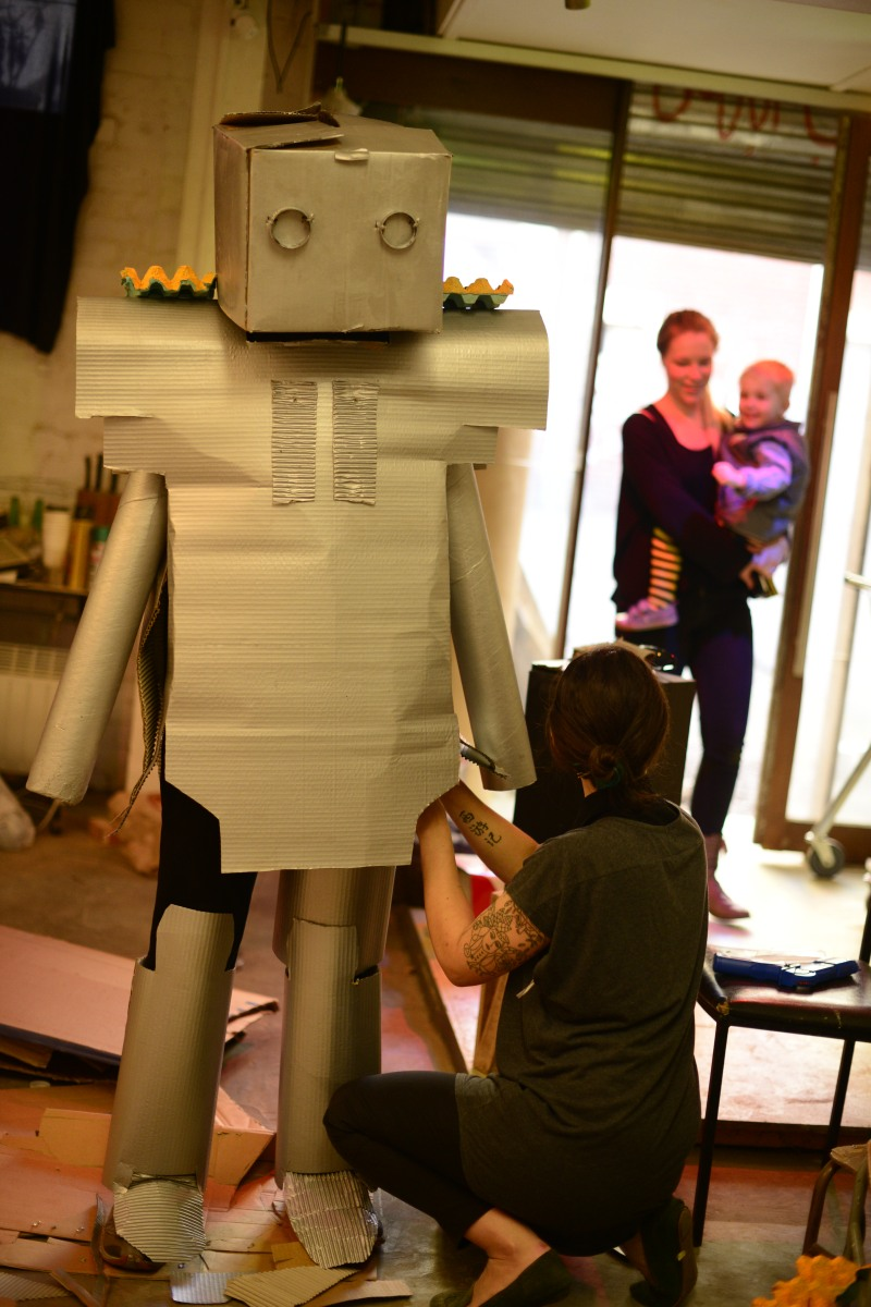 ABOVE  Ed Zuccollo in almost-full robot attire. This picture captures the very first time Oscar has seen Ed as a ROBOT!