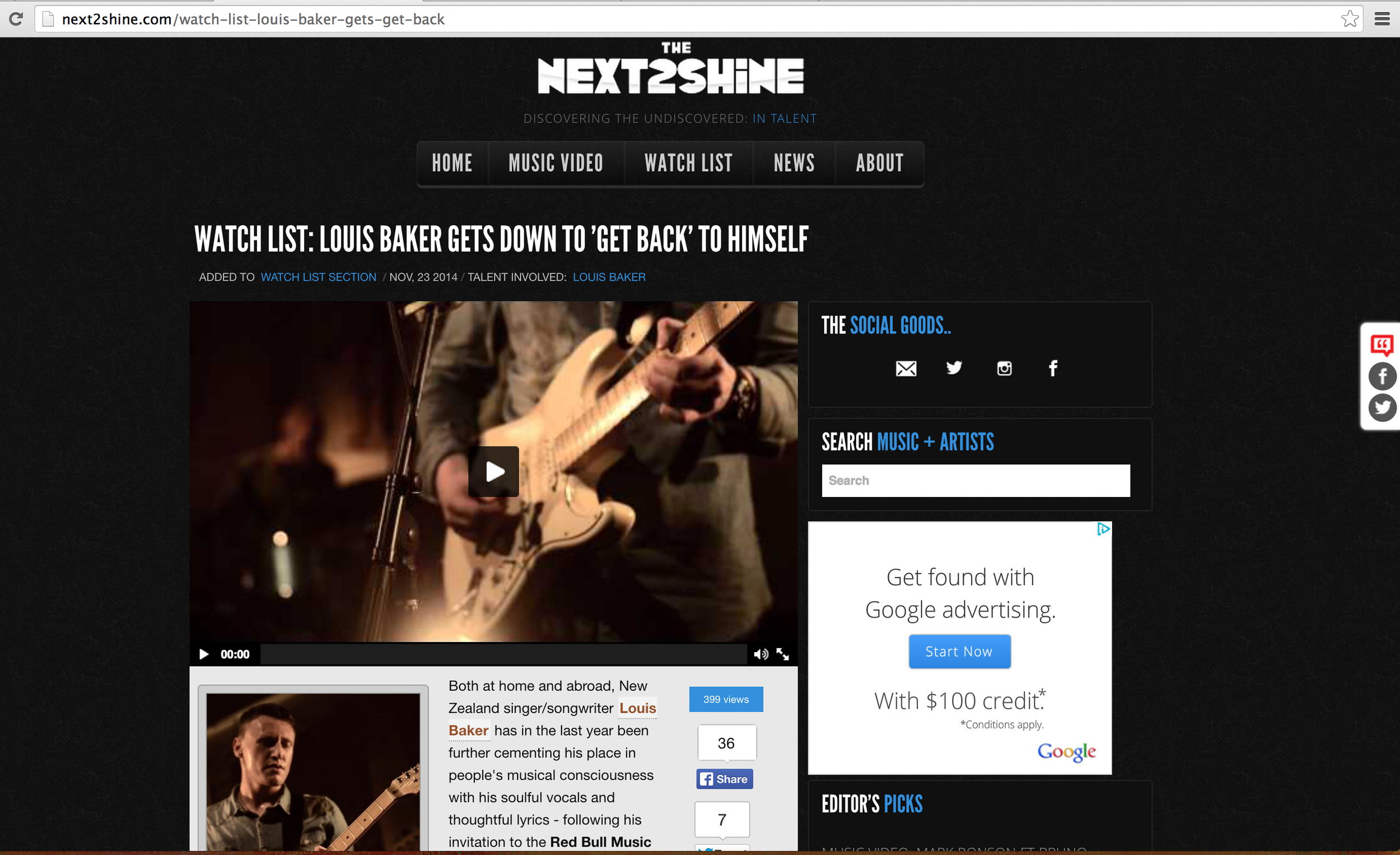 """Detail - Our video of Louis Baker's Aston Rd Sessions (live) """"Get Back"""" featured on TheNext2Shine.com's  Watch List."""