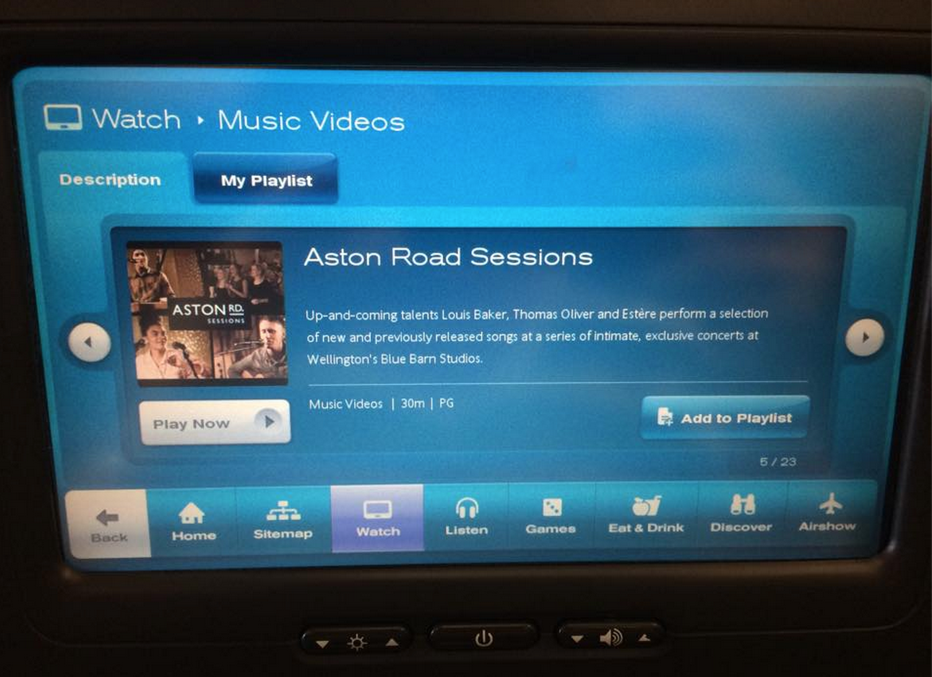 Air New Zealand International featured a 30min compilation of our Aston Rd Sessions (live) aspart of theirDec-Feb '14/'15 programme.