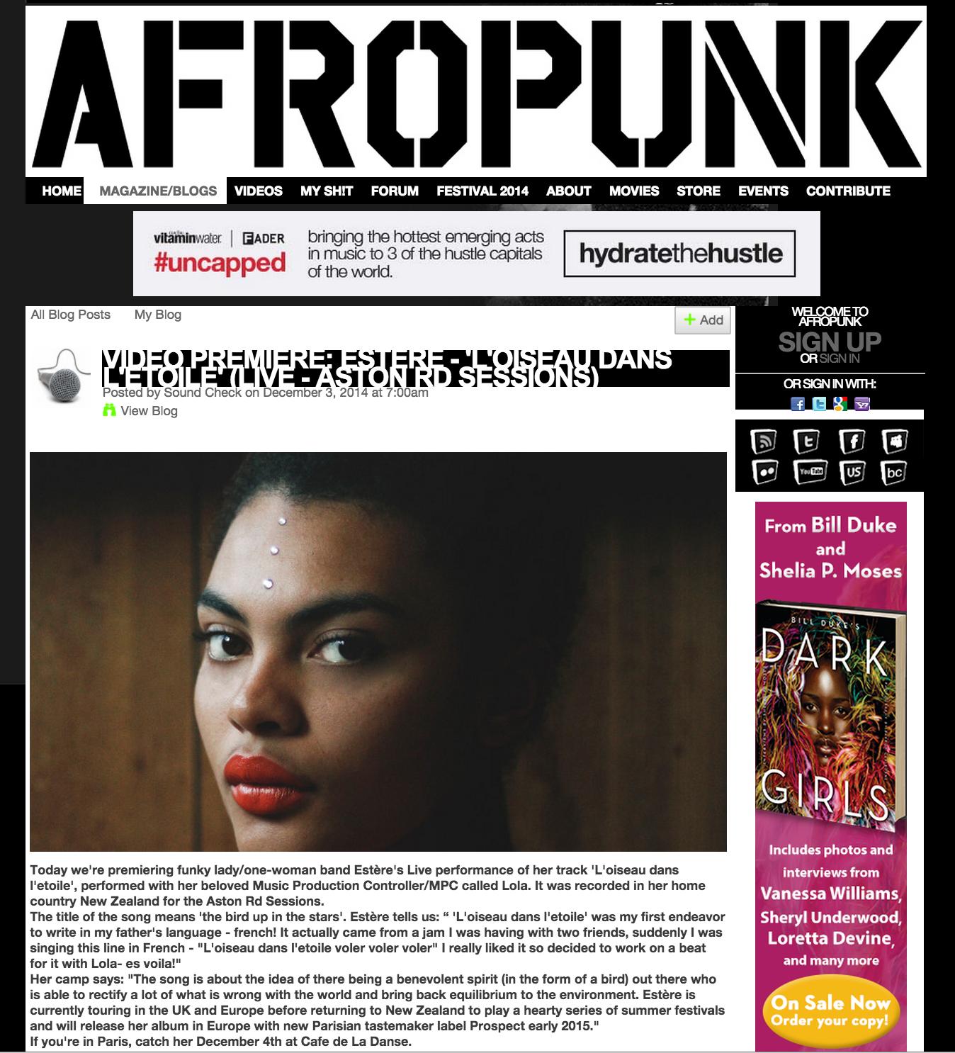 """AFROPUNK premiered our video of Estère 's final Aston Road Sessions (live) performance of """"L'oiseau dans l'etoile"""""""