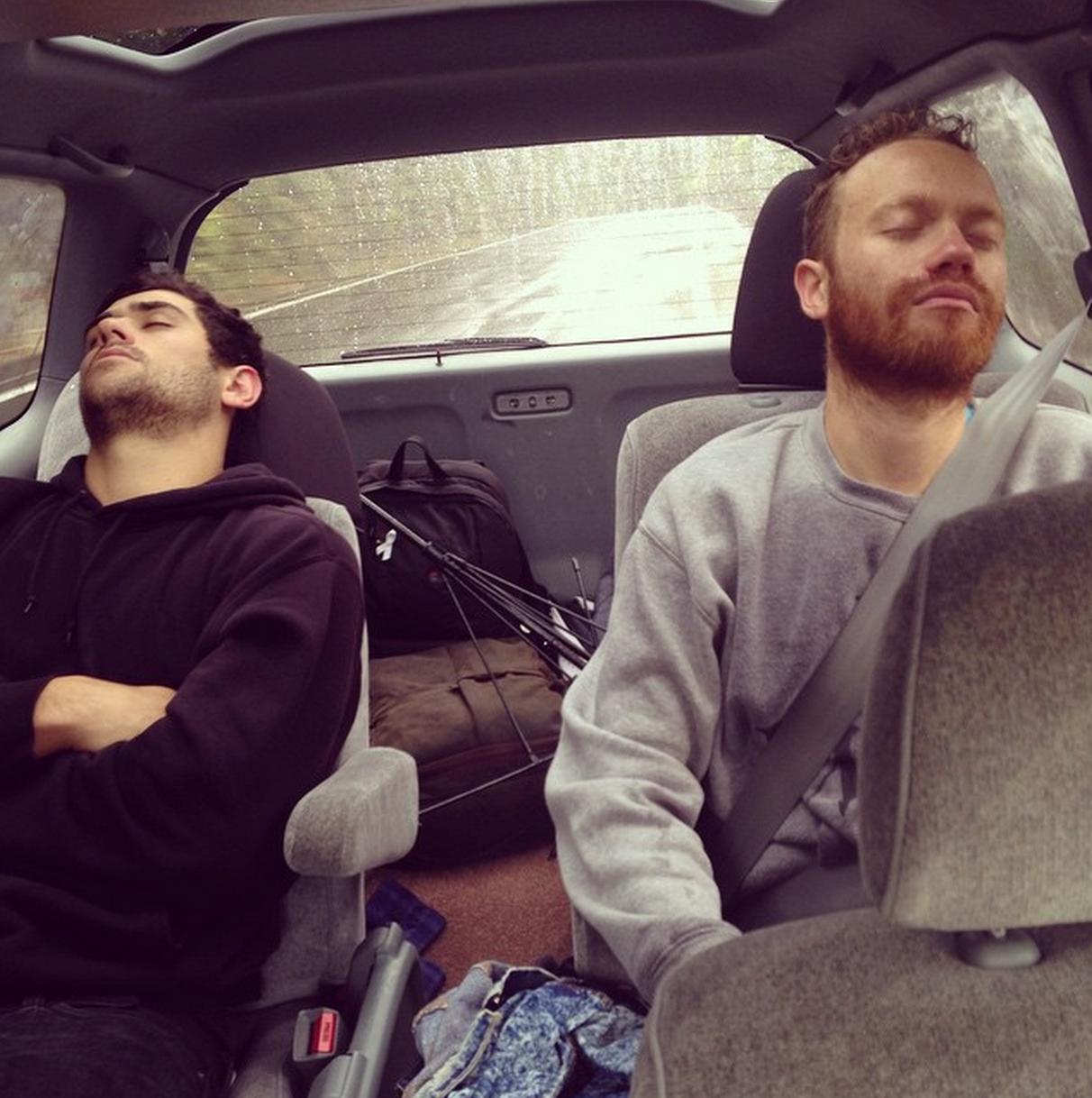 Sleeping beauties RISKY & Mara TK on the car ride back. Heroes.