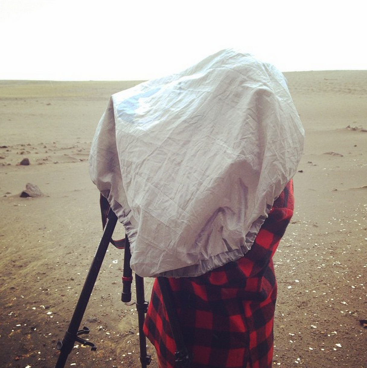 Mark having to protect the camera from EXTREME SAND conditions -  the  worst enemy to such equipment.