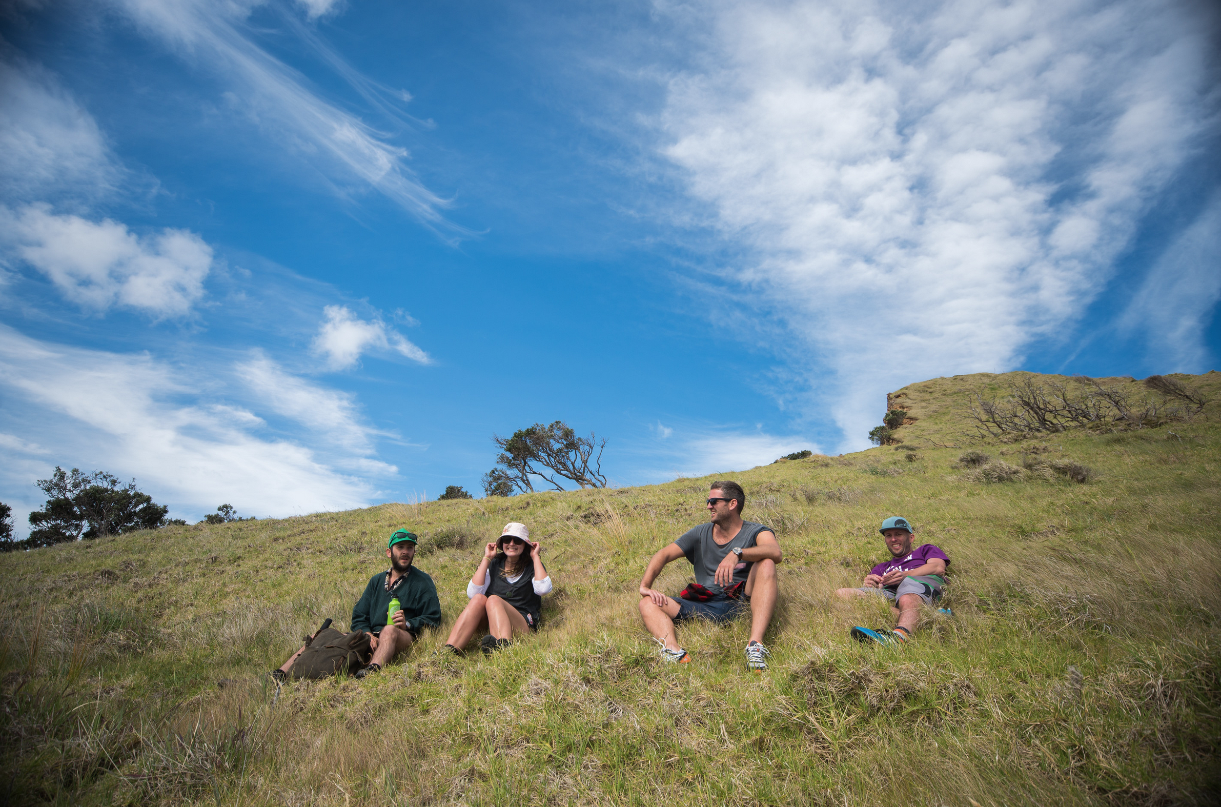 Location scouting along the cliff-edges on Great Barrier Island (l-r) Mark, Sophi, Owain, Owen. Photo: Glenn McLelland,  Aerial Vision .