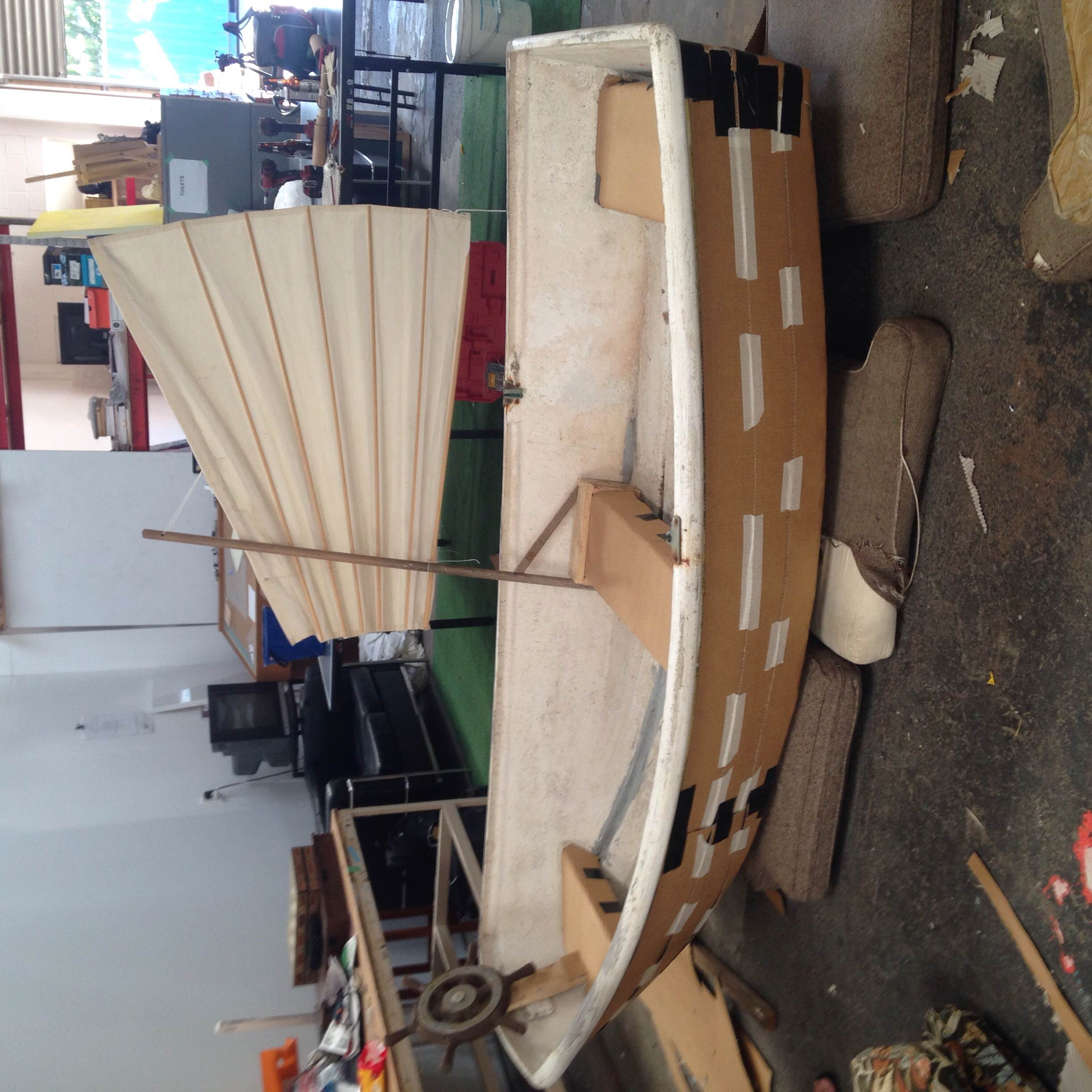 Above:  Alterations to therow boat begins.