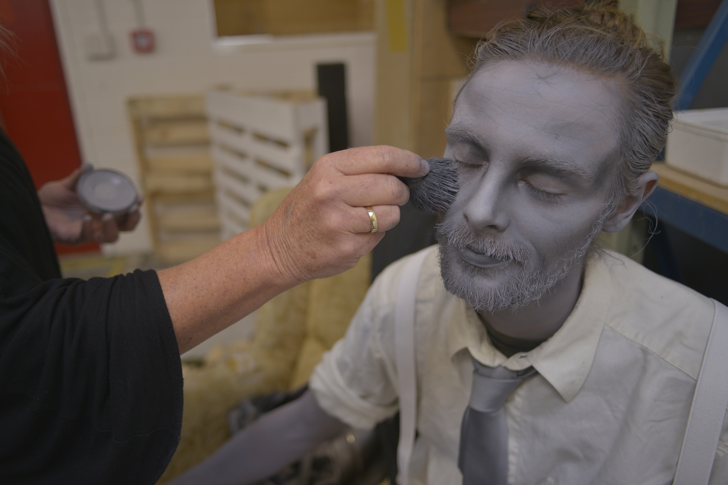 Lance having his monochrome make-up applied by artist Nicole Heydenrijk from  BODY FX