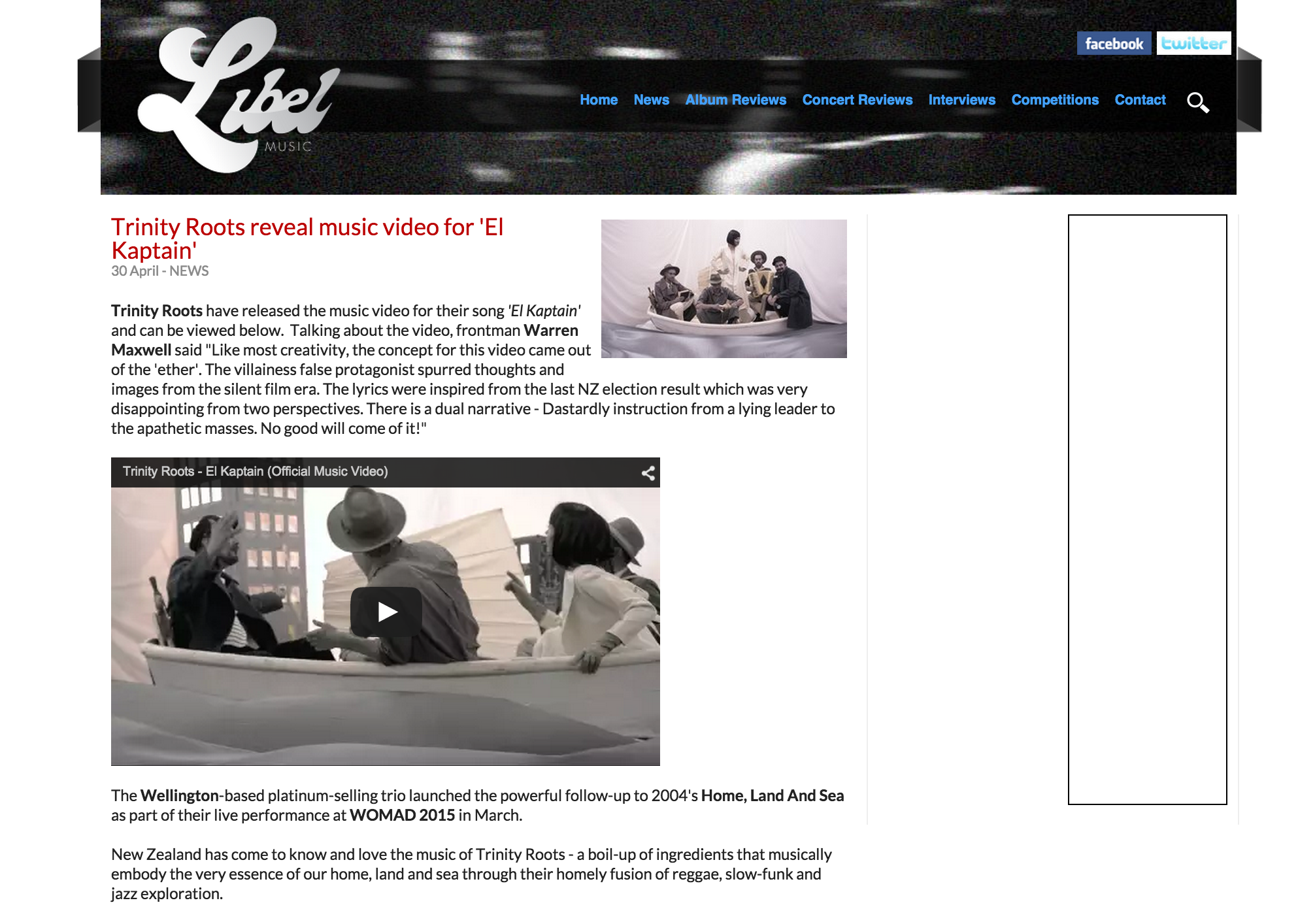"""Libel NZ featuringour video for Trinity Roots """"El Kaptain"""""""