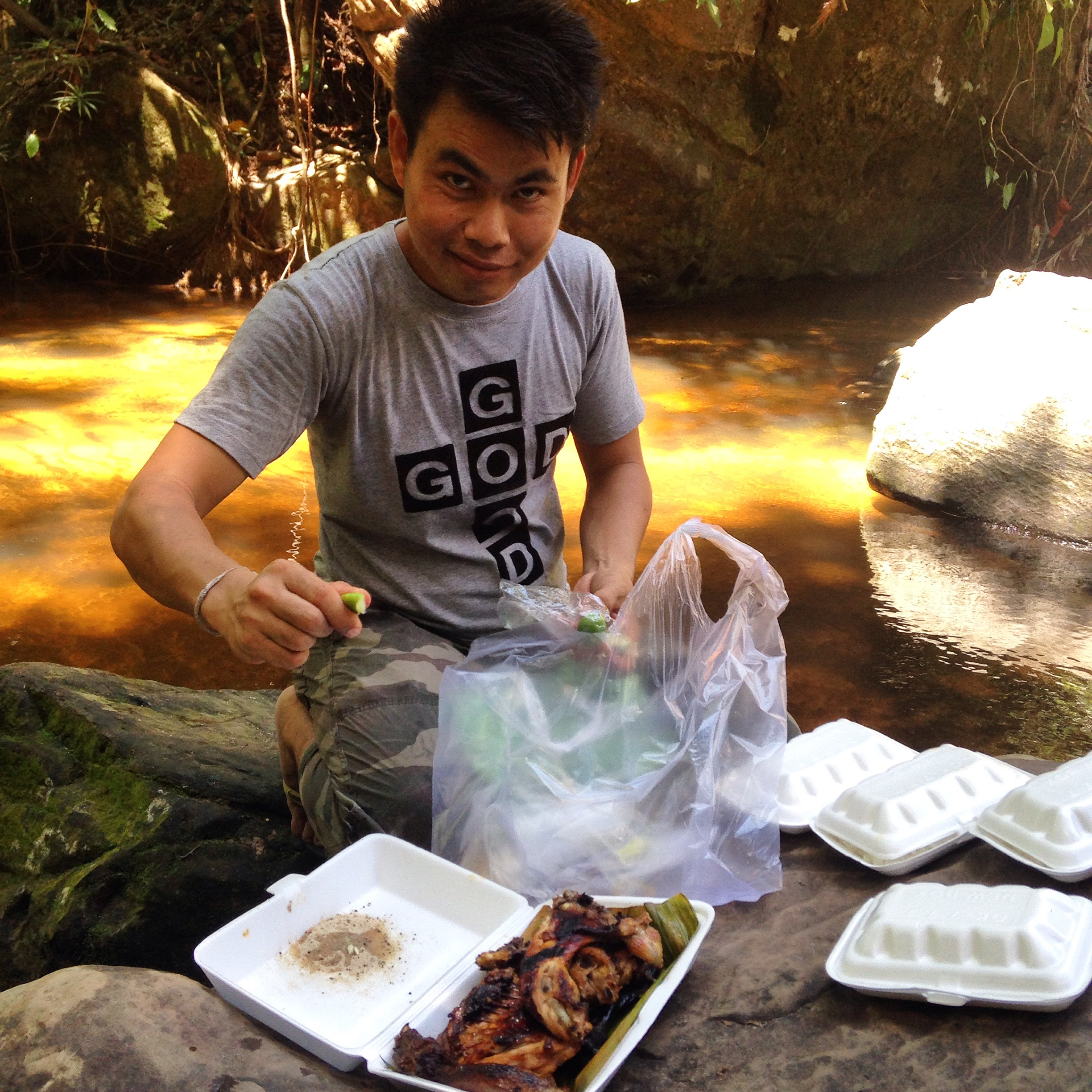 Cambodian takeaway BBQ - chicken, rice, chilli,Sprite and Angkor Beer, Kbal Spean