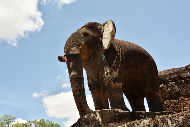 Stone elephants, Angkor complex temple, Siem Reap