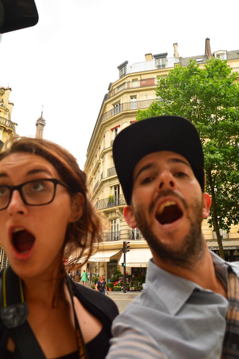 Paris selfies fail. Or win? Sophi may have birthed the Eiffel Tower from her charming brain.