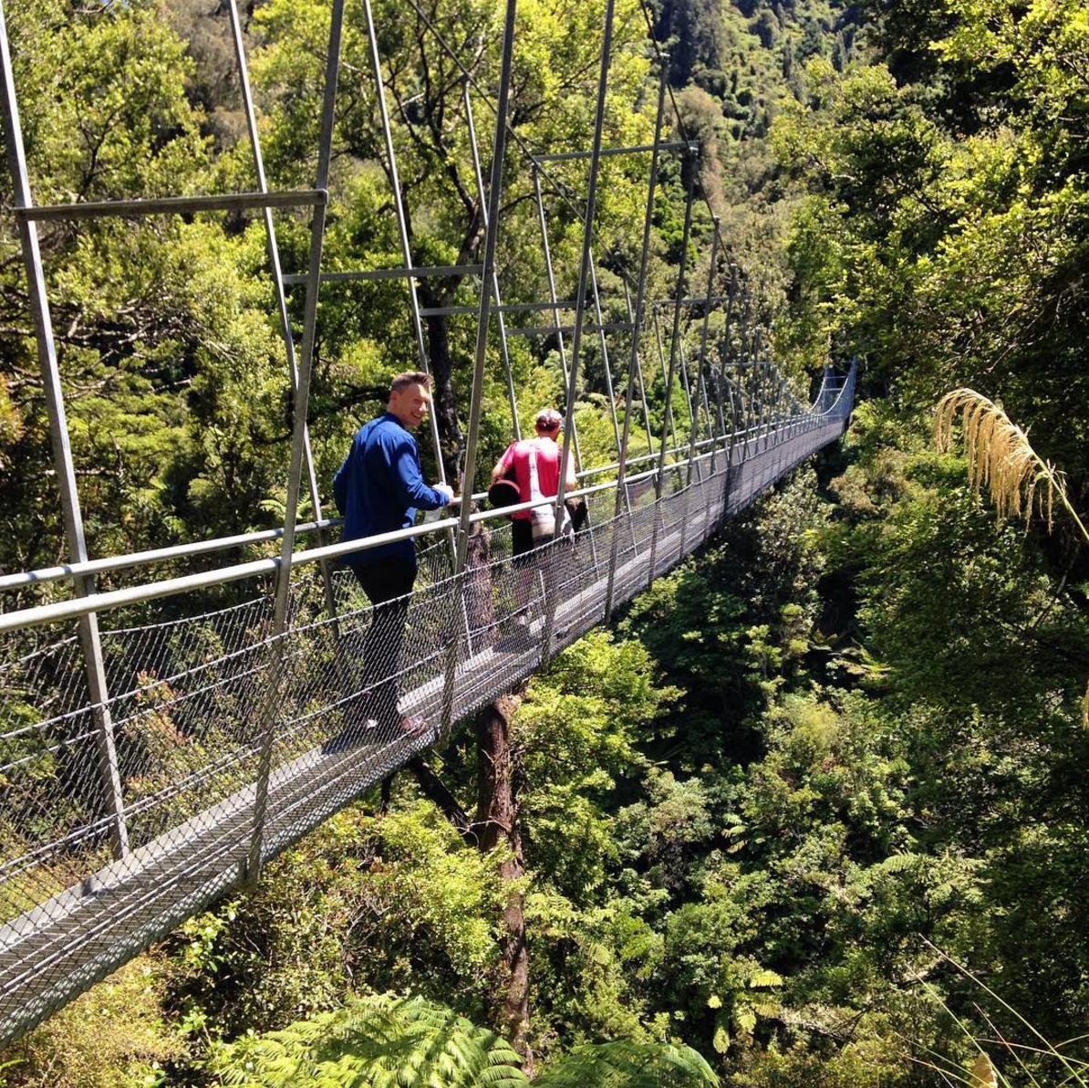 Crossing the swingbridge across the Waiohine Gorge.