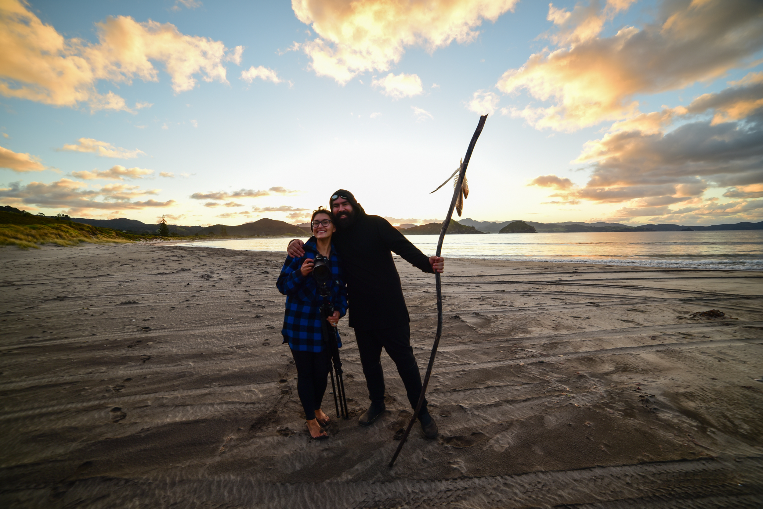 That's a wrap! Sophi and James enjoy a celebratory pose with the dying of the light.