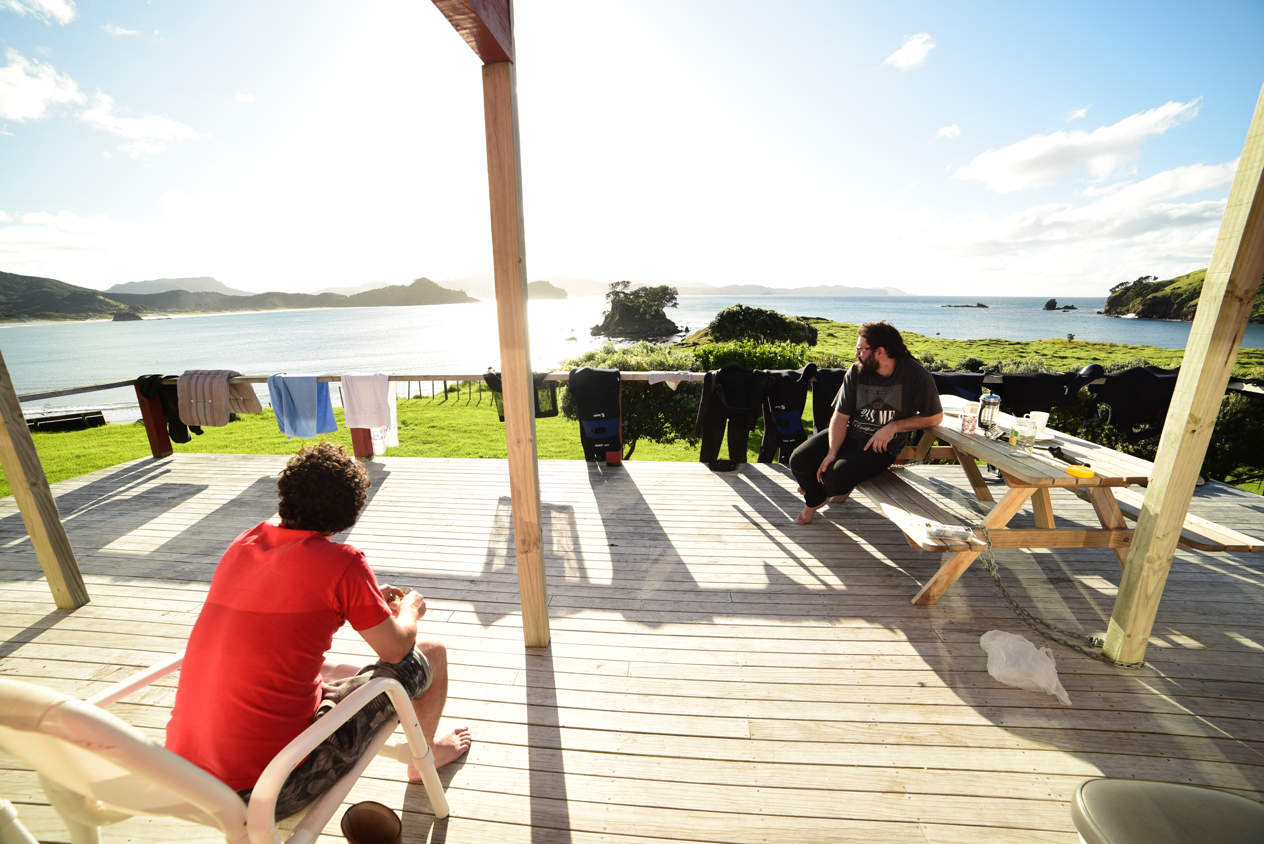 Epic sun, huge line up of wetsuits to dry off.