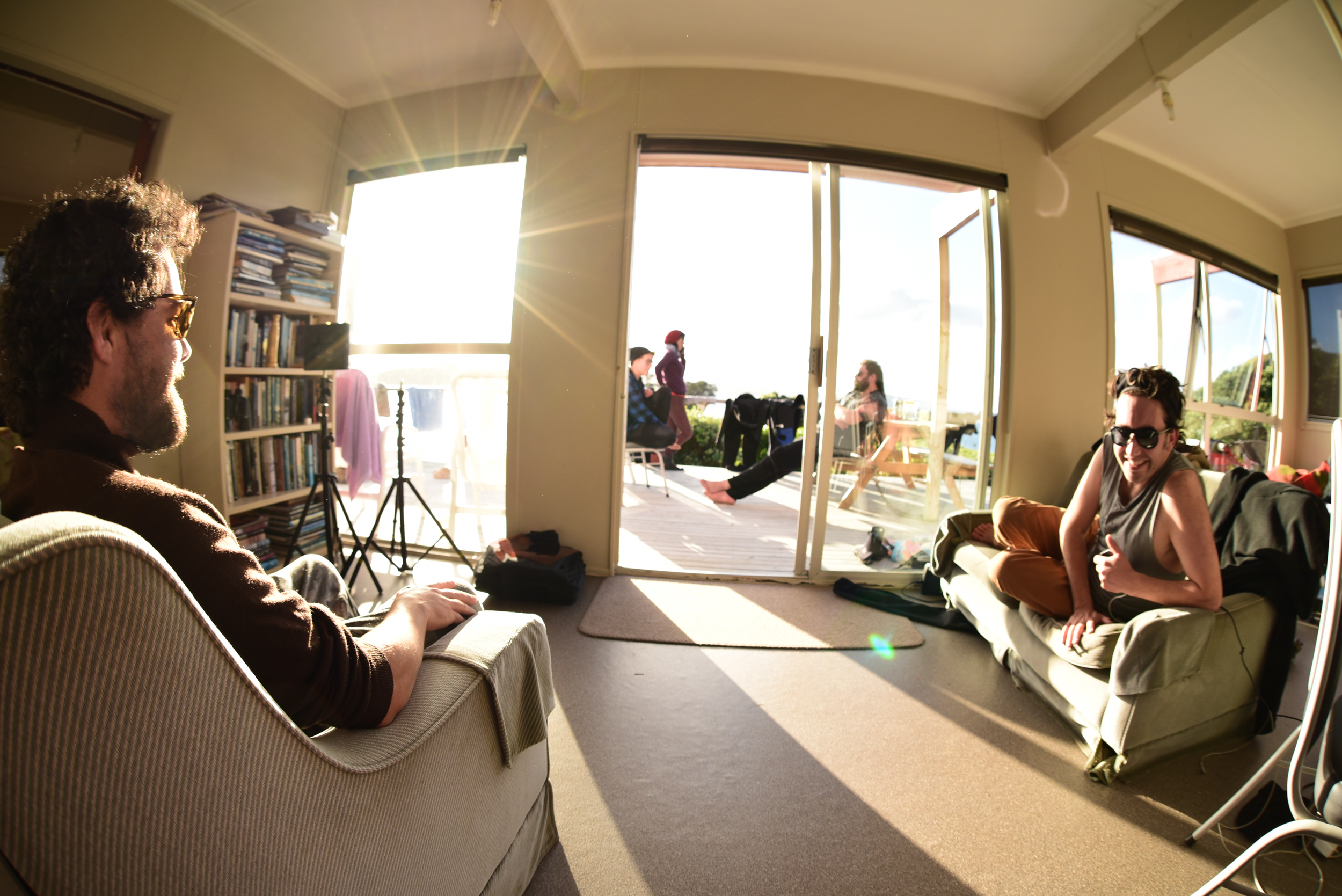 Ryan + Iraia taking a break from the sun at the batch.