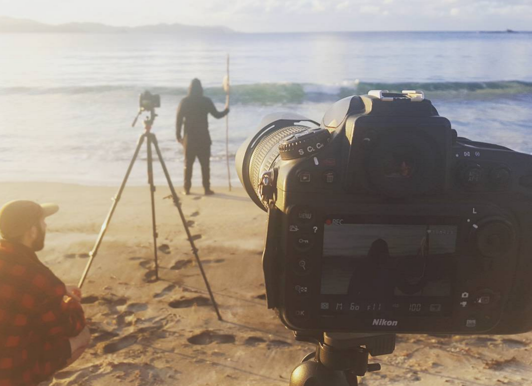 """Triple camera action - filming James down on the beach for the opening shot of """"Dark Arts"""""""