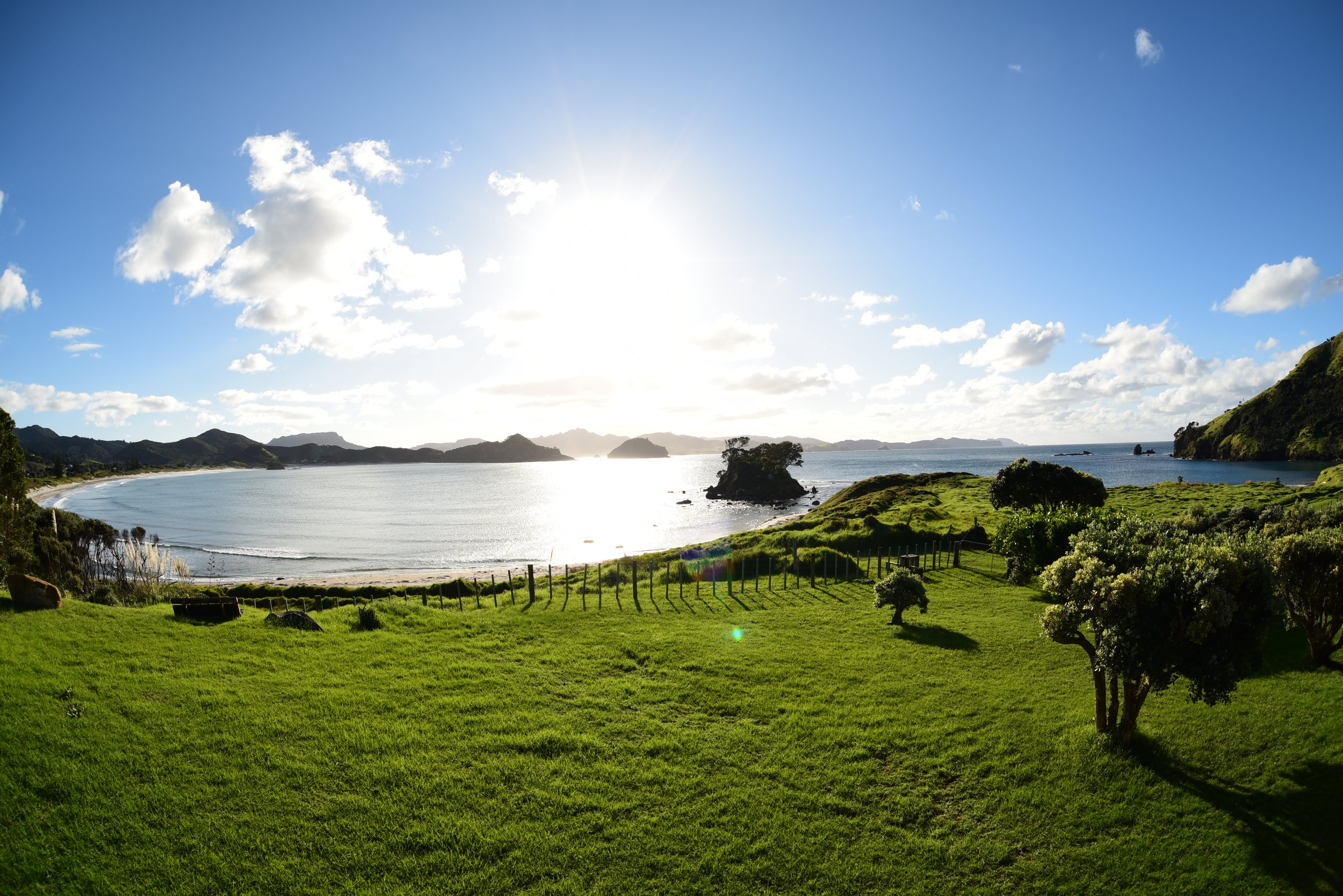 Deck with a bit of an alright view... Mark's family batch on Great Barrier Island.